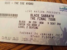 2 seating BLACK SABBATH tix Hydro Glasgow