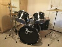 Gretsch Black Hawk kit with extra cymbals, stands, sticks, brushes etc