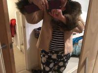 Lovely Caramel Wallis Faux-Suede Ladies Jacket with Faux Fox-Fur Trim for sale