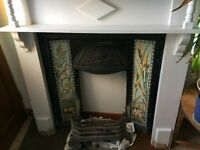 Cast Iron Fireplace - Recently Removed intact with Ornate Tile Design to sides -Tray & Grate