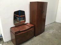 RETRO / VINTAGE 1950s BEDROOM FURNITURE SET WARDROBE AND DRESSING TABLE LOCAL DELIVERY AVAILABLE