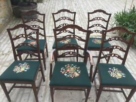 Chipendale Style set of Dining Chairs - Hand Needlepoint Seats
