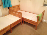 Two IKEA single extendable single beds with mattresses in excellent condition £100 each