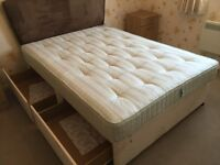 """DOUBLE BED 4'6"""" 4 Drawer divan with mattress"""