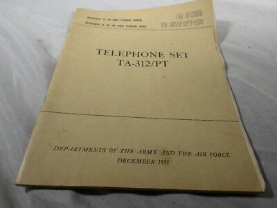 1957 Department of the Army Telephone Set TA 312 /PT Manual for sale  Allentown