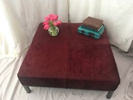 GORGEOUS COW HIDE OTTOMAN / FOOTSTOOL Oxblood Leather with Gun Metal Steel Frame