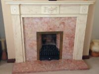 Fire Surround, marbelline, with Marble Back Panel