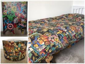Next superhero bedding, lampshade & canvas bundle