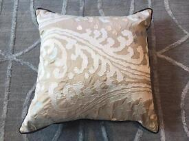 Large gold and cream lace cushions