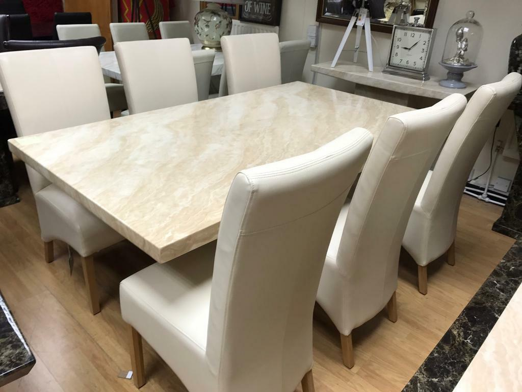Beautiful Cream Marble Dining Table And 6 Chairs