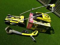 RYOBI lawnmower and trimmer (boxed)