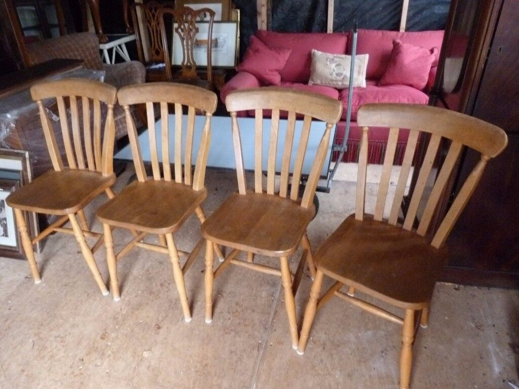 4 x Pine Kitchen Chairs - pre-owned