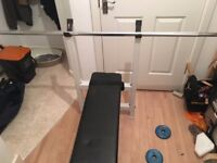 64KG Weights and Bench with Bar rest and 6 Foot Straight bar and plus a Curl Bar