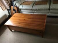 Coffee table, solid pine, raising top