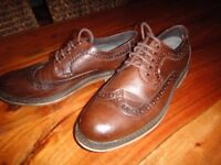 Men's brown leather brogue shoes