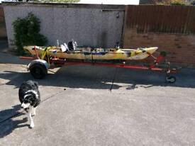 Sea fishing kayak with trailer