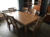 Dining Table, 4 chairs, 2 carvers