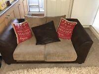 2 seater sofa brown suede & cord