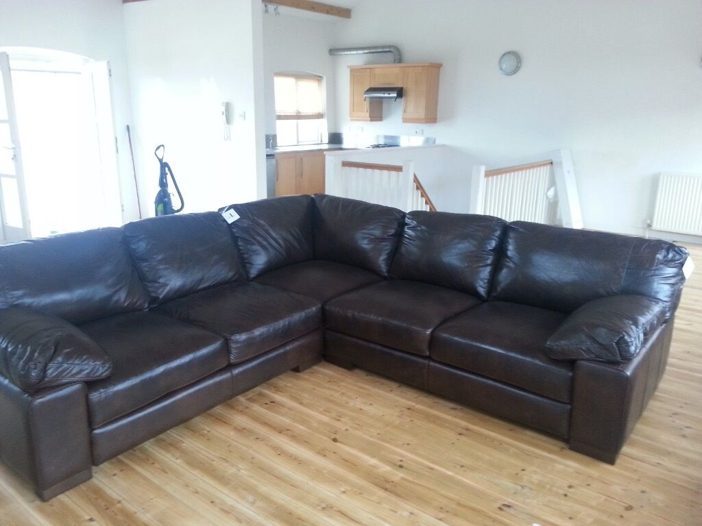 Dfs New Truffle Brown Leather Corner Sofa In Brixworth