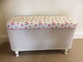 Vintage Lloyd Loom Style Blanket Box/ Ottoman