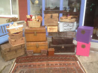 Fabulous Selection Vintage Storage Boxes, Log Boxes, Toy Boxes, Metal Trunks, Woven Trunks & Baskets