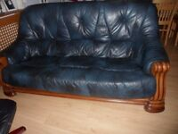 Leather Sofa And Two Chairs Solid Heavy