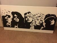 Hand painted Large Guns and Roses canvas
