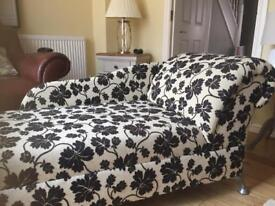 SOLD. Black and cream chaise