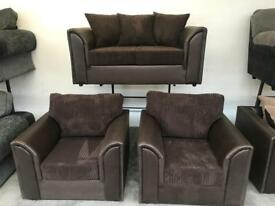 Brown 2 seater with 2 chairs