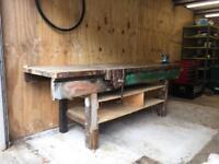 Carpentry woodwork garage oak workbench