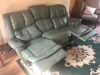 Softess Leather Green Sofa