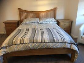 KS solid Oak bed frame and set of bedside drawers