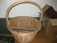 Large and solid wicker basket with handle