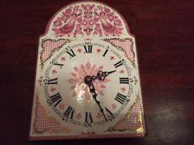 Clock: Vintage ARTA enamelled clock face, hand-made in Austria. Blue, pink/gold peacocks