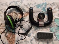 Xbox 360, head set, stering wheel, chat pad