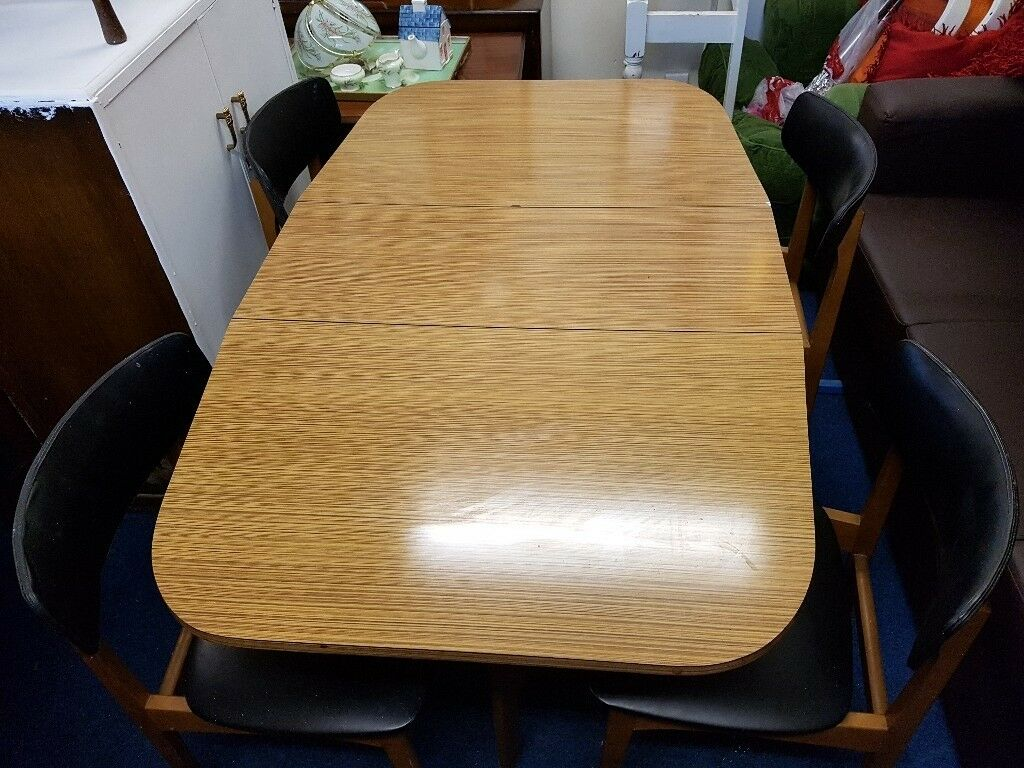 Teak Formica Gate Leg Dining Table With 4 Chairs