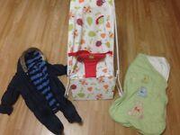 Baby bundle - bouncer, snowsuit and sleepBag