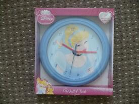 Disney Princess Cinderella Children/Kids Wall Clock. Brand new in box.