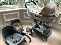 Stokke Crusi stroller plus Carry cot plus stokke besafe car car seat with isofix