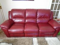 Red leater sofa