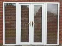UPVC DOUBLE GLAZED FRENCH DOOR WITH SIDE PANELS 259cm WIDE 201cm HIGH LOW THRESHOLD Can deliver