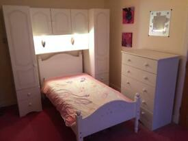 Full set of bedroom furniture including single bed