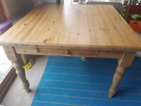 Solid wood Pine dining table square 120 cm x 120 cm x 78 cm (H). with drawer. Butchers Block