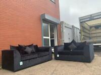 Black crushed velvet Sofas 3&2 delivery 🚚 sofa suite couch furniture