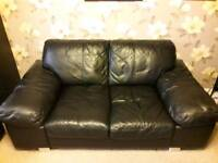 3&2 seater leather sofa black