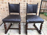 Solid oak rustic vintage kitchen dining chairs x2