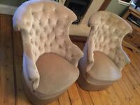 Two beautiful antique French button back armchairs