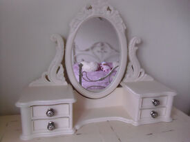 CREAM FREE STANDING DRESSING TABLE MIRROR WITH SIDE DRAWERS