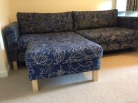 IKEA 3 seater King Size Sofa Bed with matching footstool. Immaculate condition.