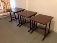 G Plan 1950's Retro Nest of 3 Side Tables Coffee Table Solid Wood Antique Very Well Made Set in VGC
